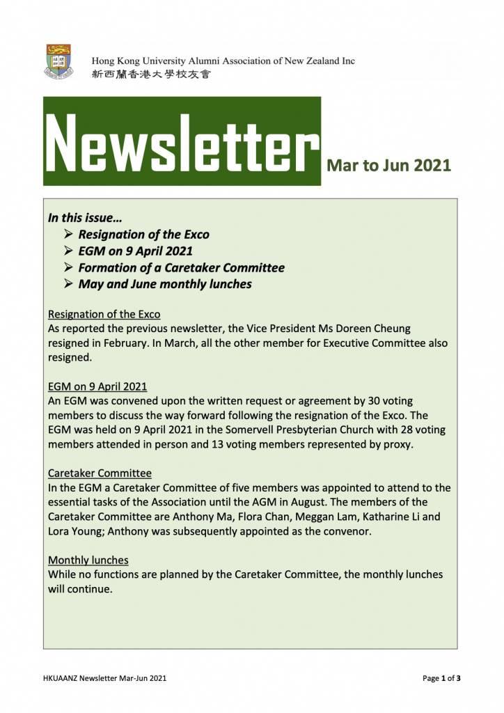 HKUAANZ Newsletter March - June 2021