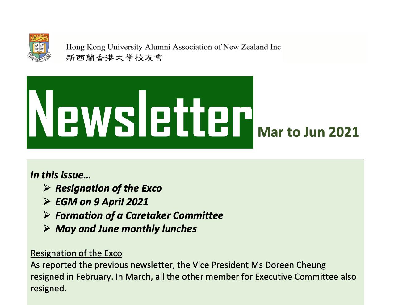 HKU Alumni Association of New Zealand Newsletter | Mar – Jun 2021